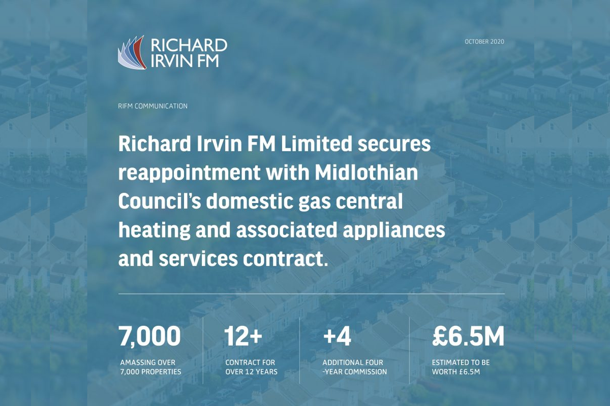 Richard Irvin FM Limited secures reappointment with Midlothian Council's domestic gas central heating and associated appliances and services contract